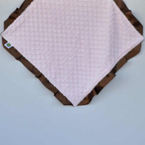 Signature Minky Lovie/ Security Blanket with satin Trim, Pastel Pink and Brown