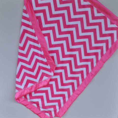 Hot Pink Chevron Minky Baby Blanket