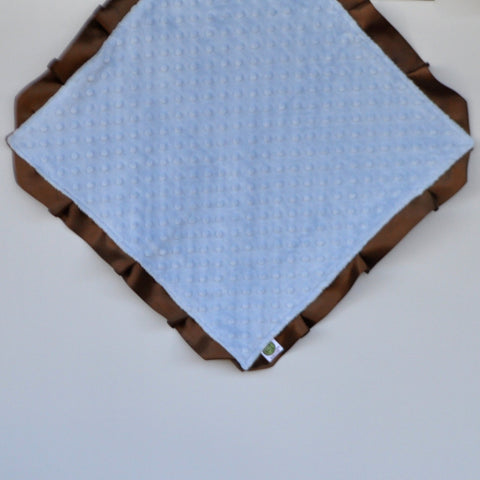Signature Minky Lovie/ Security Blanket with Satin Trim, Lt. Blue and Brown