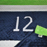Navy Blue and Lime Green,  #12, Football Baby Blanket