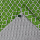 Moroccan Quatrefoil Baby Blanket Lime Green Mitered Corners