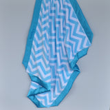 Blue Minky Chevron Blanket with Satin Trim