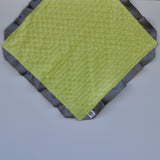 Signature Minky Lovie/ Security Blanket with Satin Trim, Apple Green and Charcoal