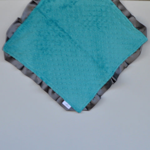 Signature Minky Lovie/ Security Blanket with Satin Trim, Teal and Charcoal