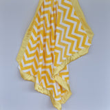 Yellow Chevron Baby Blanket with Satin Trim