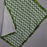 Green Chevron Blanket with Trim