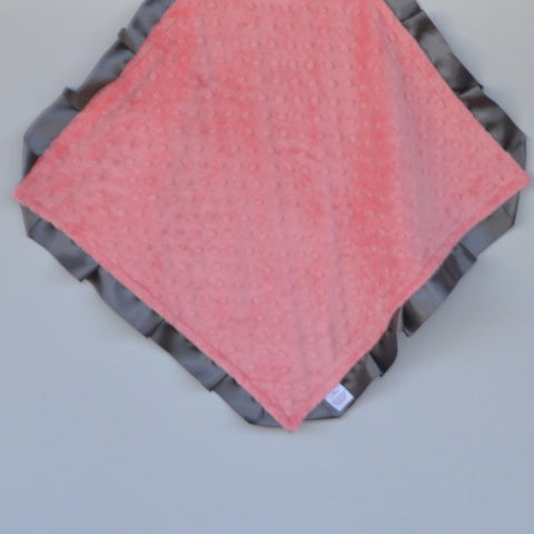 Signature Minky Lovie/ Security Blanket with Satin Trim, Coral and Charcoal