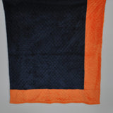 Navy Blue with Orange Border