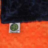 Signature Minky Baby Blanket Navy and Bright Orange