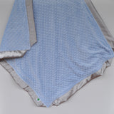 Pastel Blue Minky Baby Blanket with gray satin Trim
