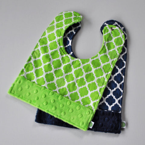 Navy Blue and Lime Quatrefoil Bib