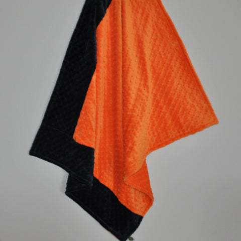 Orange and Navy Minky Blanket