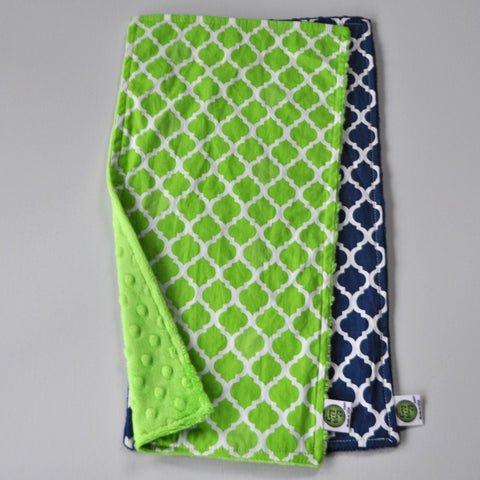 Navy Blue and Lime Burp Cloth