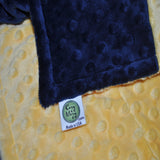 Yellow Sunshine/ Navy Minky Blanket