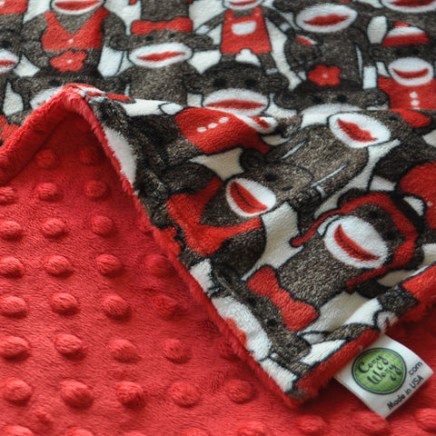Sock Monkey Blanket with Red Back