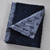 Navy Blue Anchors with Navy Minky
