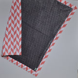 Offset Chevron Baby Blanket with gray minky