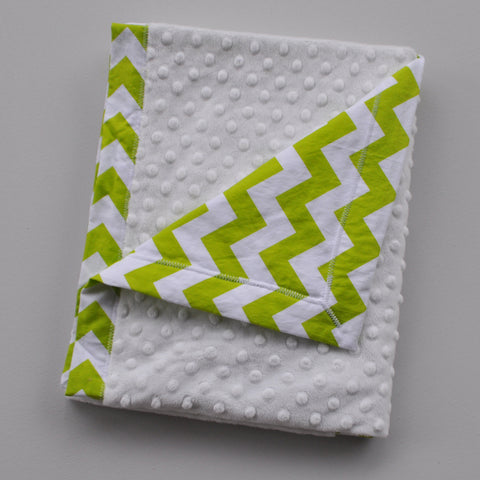 Bright Green Chevron Baby Blanket with Gray Minky