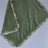 Paisley Minky Baby Blanket Green with Satin Trim
