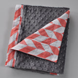 Coral Chevron with gray minky