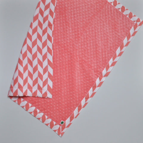 Offset Chevron Baby Blanket with Coral Minky