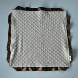 Signature Minky Lovie/ Security Blanket with satin Trim, Tan and Brown
