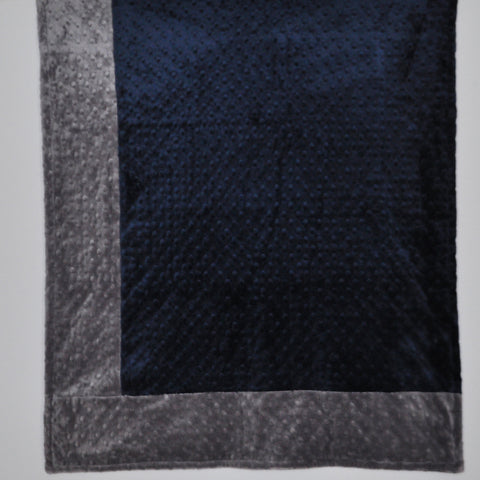 Signature Minky Baby Blanket Navy and Charcoal Gray