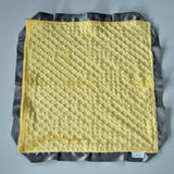 Signature Minky Lovie/ Security Blanket with Satin Trim, Bright Yellow and Charcoal