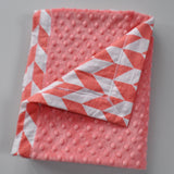 Coral Offset Chevron with Coral Minky