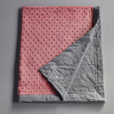 Gray linen and coral minky baby blanket
