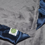 Gray Embossed Minky Blanket with Navy Blue Satin Trim