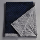 Gray Linen and Navy baby blanket