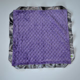 Signature Minky Lovie/ Security Blanket with Satin Trim, Purple and Charcoal
