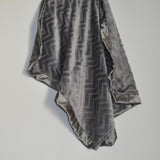 Gray minky chevron with gray satin trim