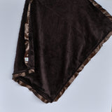 Brown Minky Baby Blanket with Satin Trim -- Brown