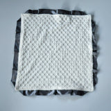 Signature Minky Lovie/ Security Blanket with Satin Trim, Cream and Charcoal