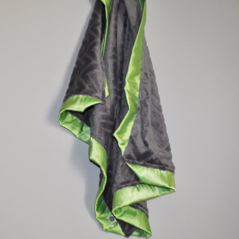 Gray Embossed Minky Blanket with Lime Green Satin Trim