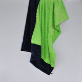 Lime Green and navy Baby Blanket
