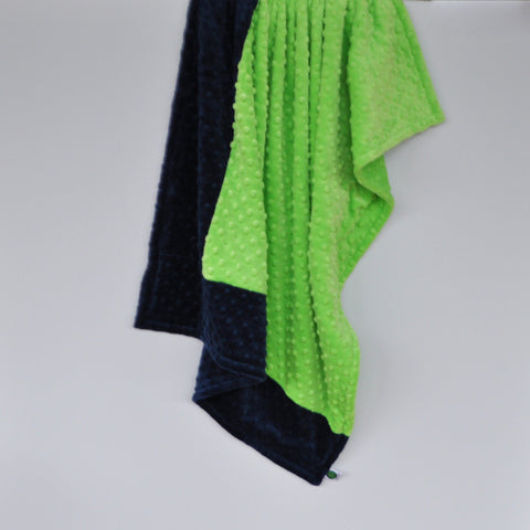 Navy Blue and Lime Green Blanket