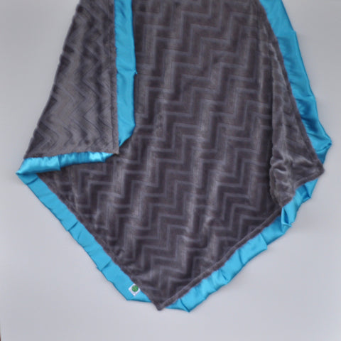 Gray Embossed Minky Blanket with Turquoise Satin Trim
