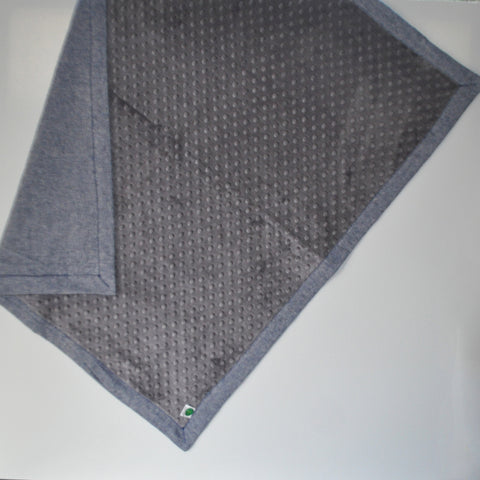 Charcoal Gray Minky and Denim Baby Blanket