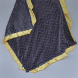 Gray Embossed Minky Blanket with Yellow Satin Trim