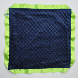 Signature Minky Lovie/ Security Blanket with Lime Satin Trim Lime and Navy Minky