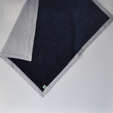 Gray Linen and Navy Minky Baby Blanket