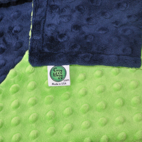 Navy Blue and Lime Green Minky Blanket