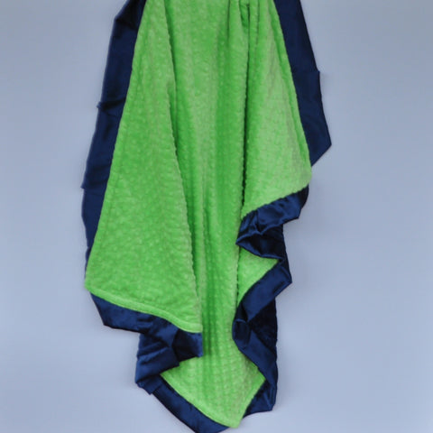 Lime Minky Blanket with Navy Satin Trim