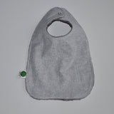 Gray Linen Bib with Snap