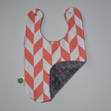 Coral chevron bib with gray