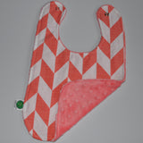 Coral Chevron bib with coral minky