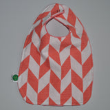 Coral chevron bib with snap